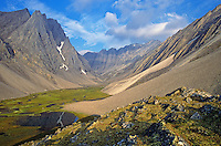 Remote unnamed valley amid rugged peaks of the Endicott Mountains in the Brooks Range at Gates of Arctic National Park, Alaska, AGPix_0725.