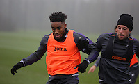 (L-R) Leroy Fer is challenged by Gylfi Sigurdsson during the Swansea City Training at The Fairwood Training Ground, Swansea, Wales, UK. Wednesday 22 February 2017