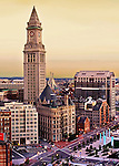 Custom House In Downtown Boston At Dawn, And A Portion Of The New Rose Kennedy Greenway.