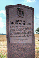 Historic marker outside of Commerce Oklahoma on Route 66, shows that you are entering Indian Territory.