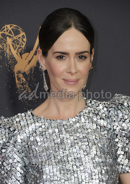 17 September  2017 - Los Angeles, California - Sarah Paulson. 69th Annual Primetime Emmy Awards - Arrivals held at Microsoft Theater in Los Angeles. Photo Credit: Birdie Thompson/AdMedia