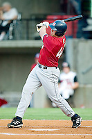 Huntsville Stars' Brad Nelson follows through on his swing versus the Carolina Mudcats at Five County Stadium in Zebulon, NC, Thursday, July 20, 2006.