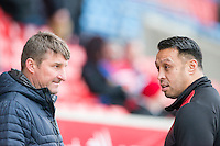 Picture by Allan McKenzie/SWpix.com - 04/03/2017 - Rugby League - Betfred Super League - Salford Red Devils v Warrington Wolves - AJ Bell Stadium, Salford, England - Tony Smith talks to Willie Poching.