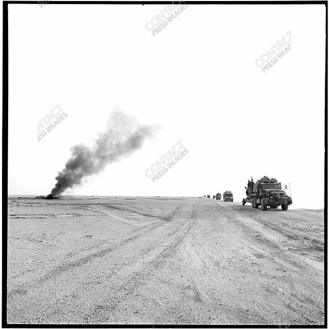 U.S. convoy moving north, Iraq, February 1991