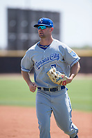 AZL Royals center fielder Bubba Starling (7) jogs off the field during a rehab assignment in an Arizona League game against the AZL Padres 1 at Peoria Sports Complex on July 4, 2018 in Peoria, Arizona. The AZL Royals defeated the AZL Padres 1 5-4. (Zachary Lucy/Four Seam Images)