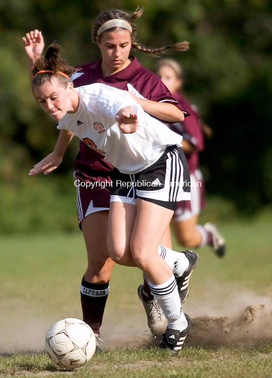 WATERTOWN, CT- 24 SEPTEMBER 2008- 092408JT10-<br /> Watertown's Nicole Geletka races Naugatuck's Sara Tarsi to the ball during Wednesday's game at Veterans' Memorial Park in Watertown. The Indians won, 3-0.<br /> Josalee Thrift / Republican-American