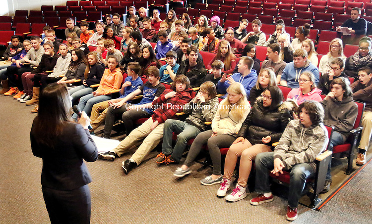 TORRINGTON CT. 04 December 2015-120415SV05-Torrington Middle School eighth-graders visit the high school for the first time in Torrington Friday. The middle school had all students visit the high school to show the students around and see what opportunities are available to them. <br /> Steven Valenti Republican-American