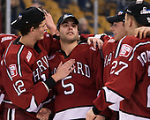 John Marino (Harvard - 12), Clay Anderson (Harvard - 5), Jake Horton (Harvard - 19), Viktor Dombrovskiy (Harvard - 27) - The Harvard University Crimson defeated the Boston University Terriers 6-3 (EN) to win the 2017 Beanpot on Monday, February 13, 2017, at TD Garden in Boston, Massachusetts.
