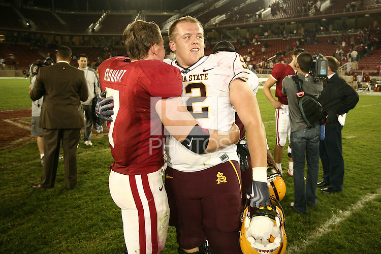 STANFORD, CA - OCTOBER 24:  Toby Gerhart of the Stanford Cardinal with his brother during Stanford's 33-14 win over ASU on October 24, 2009 at Stanford Stadium in Stanford, California.