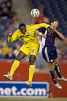 Kyle Martino (Crew) and Shalrie Joseph (Revolution) battle for the ball. The NE Revolution defeated Columbus Crew, 3-1, on September 10 at Gillette Stadium.
