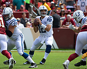 Indianapolis Colts quarterback Andrew Luck (12) looks for a receiver in early first quarter action against the Washington Redskins at FedEx Field in Landover, Maryland on Sunday, September 16, 2018.<br /> Credit: Ron Sachs / CNP