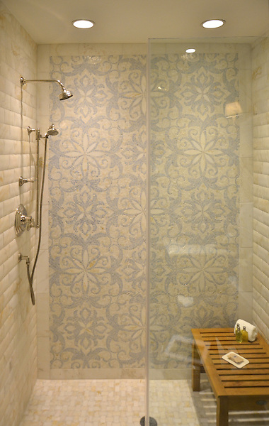 Arabella, a natural stone waterjet and hand cut mosaic shown in Cloud Nine and Celeste.<br /> -photos courtesy of Briar Mewbourne and The Golden Pheasant Inn, Pennsylvania