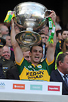 Kerry players lift the Sam Maguire Cup to celebrate  Kerry's victory over Donegal in the All-Ireland Football Final against  in Croke Park 2014.<br /> Photo: Don MacMonagle<br /> <br /> <br /> Photo: Don MacMonagle <br /> e: info@macmonagle.com