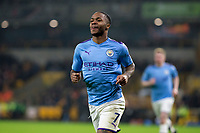 27th December 2019; Molineux Stadium, Wolverhampton, West Midlands, England; English Premier League, Wolverhampton Wanderers versus Manchester City; Raheem Sterling of Manchester City running the the Manchester City supporters after scoring in the 50th minute 0-2