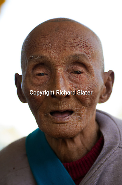 This old man, who appeared to be fit and well, lives with the community of monks at the Bawgyo Paya (or pagoda) five miles west of Hsipaw in Myanmar and is said by them to be one hundred and fourteen years old.