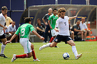 Kyle Beckerman (5) of the United States (USA) plays the ball. Mexico (MEX) defeated the United States (USA) 5-0 during the finals of the CONCACAF Gold Cup at Giants Stadium in East Rutherford, NJ, on July 26, 2009.
