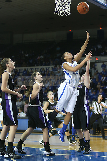 Kentucky Wildcats guard Kastine Evans (32) laying up a point during the first half of the UK Hoops basketball game vs. Lipscomb on Thursday, November 21, 2013, in Lexington, Ky. Photo by Kalyn Bradford | Staff
