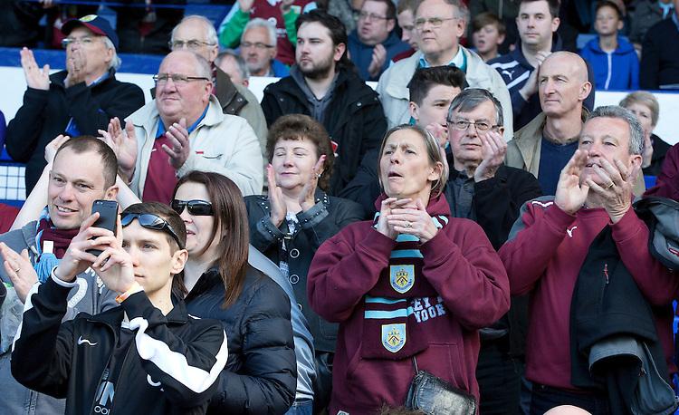Burnley fans wait for the kick-off<br /> <br /> Photographer Stephen White/CameraSport<br /> <br /> Football - Barclays Premiership - Everton v Burnley - Saturday 18th April 2015 - Goodison Park - Everton<br /> <br /> &copy; CameraSport - 43 Linden Ave. Countesthorpe. Leicester. England. LE8 5PG - Tel: +44 (0) 116 277 4147 - admin@camerasport.com - www.camerasport.com