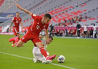 13th June 2020, Allianz Erena, Munich, Germany; Bundesliga football, Bayern Munich versus Borussia Moenchengladbach; Ivan Perisic (Bayern München) challenges for the ball with Stefan Lainer (Borussia Mönchengladbach)