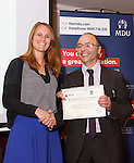 22/07/2015 GP Trainee Awards and Michael Lennard Reception 2015 hosted at The Holiday Inn, Filton, Bristol, by MDU.  Dr Emily Howse of the Bristol patch receives the Brisdoc Healthcare Services award from Dr Ray Montague, chairman of Brisdoc.