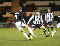Jordan Stewart closes down Aaaron Muirhead in the St Mirren v Falkirk Scottish Professional Football League Ladbrokes Championship match played at the Paisley 2021 Stadium, Paisley on 1.3.16.