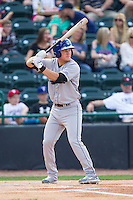Pat Valaika (16) of the Asheville Tourists at bat against the Hickory Crawdads at L.P. Frans Stadium on April 13, 2014 in Hickory, North Carolina.  The Tourists defeated the Crawdads 5-4.  (Brian Westerholt/Four Seam Images)