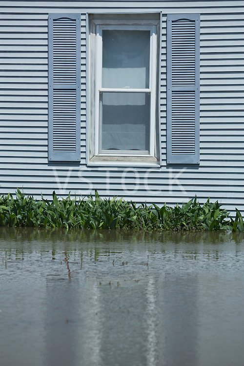 Close up of flooded house