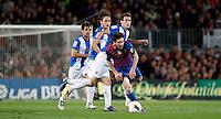 BARCELONA, ESPANHA, 05 MAIO 2012 - CAMP. ESPANHOL - BARCELONA X ESPANYOL -  Messi jogador do Barcelona durante partida contra o Espanyol em partida valida pela 37 Rodada do Campeonato Espanhol, no estadio Camp Nou em Barcelona na Espanha. (FOTO: VANESSA CARVALHO / BRAZIL PHOTO PRESS).