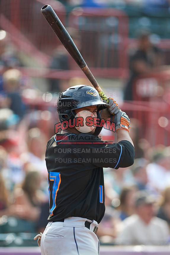 Akron RubberDucks catcher Francisco Mejia (17) on deck during a game against the Erie SeaWolves on August 27, 2017 at UPMC Park in Erie, Pennsylvania.  Akron defeated Erie 6-4.  (Mike Janes/Four Seam Images)