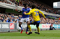 Ipswich Town's Josh Emmanuel battles with Birmingham City's Jota<br /> <br /> Photographer Hannah Fountain/CameraSport<br /> <br /> The EFL Sky Bet Championship - Ipswich Town v Birmingham City - Saturday 13th April 2019 - Portman Road - Ipswich<br /> <br /> World Copyright © 2019 CameraSport. All rights reserved. 43 Linden Ave. Countesthorpe. Leicester. England. LE8 5PG - Tel: +44 (0) 116 277 4147 - admin@camerasport.com - www.camerasport.com