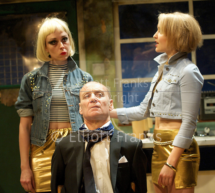 Ghost From A Perfect Place by Philip Ridley <br /> at The Arcola Theatre, London, Great Britain <br /> press photocall<br /> 11th September 2014<br /> <br /> Sheila Reid as Torchie Sparks<br /> <br /> Michael Feast as Travis Flood<br /> <br /> Florence Hall as Rio Sparks<br /> <br /> Scarlett Brookes as Miss Sulphur<br /> <br /> Rachel Redford as Miss Kerosene <br /> <br /> <br /> directed by Russell Bolam <br /> <br /> <br /> Photograph by Elliott Franks <br /> Image licensed to Elliott Franks Photography Services