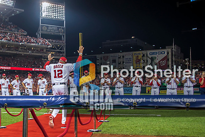 6 October 2017: Washington Nationals Manager Dusty Baker is introduced prior to the start of the NLDS against the Chicago Cubs at Nationals Park in Washington, DC. The Cubs shut out the Nationals 3-0 to take a 1-0 lead in their best of five Postseason series. Mandatory Credit: Ed Wolfstein Photo *** RAW (NEF) Image File Available ***