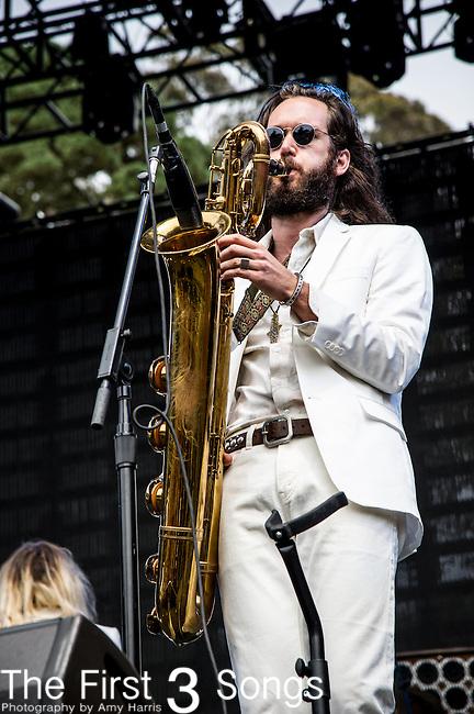 Elliot Bergman of Wild Belle performs at the Outside Lands Music & Art Festival at Golden Gate Park in San Francisco, California.
