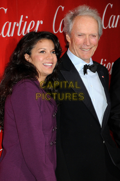 DINA RUIZ & CLINT EASTWOOD .Palm Springs International Film Festival Awards Gala 2010 held at the Palm Springs Convention Center, Palm Springs, California, USA,.5th January 2010. .half length bow tie blue shirt tux tuxedo white shirt black purple married husband wife coat smiling .CAP/ADM/BP.©Byron Purvis/AdMedia/Capital Pictures.