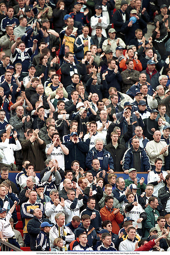TOTTENHAM SUPPORTERS, Arsenal 2 v TOTTENHAM 1, FA Cup Semi-Final, Old Trafford, 010408. Photo: Neil Tingle/Action Plus....2001.crowd.crowds.supporters.fans.spectators.football.soccer