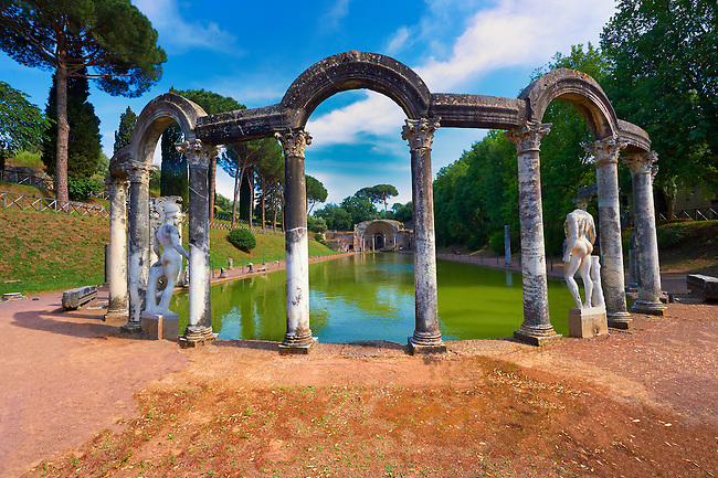 The Canopus, an elongated canal imitating the famous sanctuary of Serapis near Alexandria. The semi-circular exedra of the Serapeum is located at its southern end, dedicated to the gods Isis and Serpis which was probably used as a banqueting hall. Hadrian's Villa ( Villa Adriana ) built during the second and third decades of the 2nd century AD, Tivoli, Italy. A UNESCO World Heritage Site.