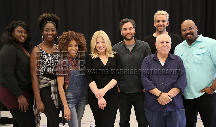 """Amma Osei, Amber Iman, Allison Semmes, Megan Hilty, Josh Radnor, Lee Wilkof, Nick Cordero and James Monroe Iglehart In Rehearsal with the Kennedy Center production of """"Little Shop of Horrors"""" on October 11 2018 at Ballet Hispanica in New York City."""