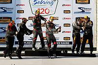 2017 IMSA Continental Tire SportsCar Challenge<br /> Visit Sebring 120<br /> Sebring International Raceway, Sebring, FL USA<br /> Friday 17 March 2017<br /> 44, Nissan, Altima, ST, Sarah Cattaneo, Owen Trinkler, 17, Porsche, Porsche Cayman, ST, Spencer Pumpelly, Nick Galante, 56, Porsche, Porsche Cayman, ST, Jeff Mosing, Eric Foss, podium, champagne<br /> World Copyright: MIchael L. Levitt<br /> LAT Images<br /> ref: Digital Image levitt_seb_0317-15515