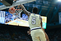 CHAPEL HILL, NC - JANUARY 4: Moses Wright #5 of Georgia Tech dunks the ball during a game between Georgia Tech and North Carolina at Dean E. Smith Center on January 4, 2020 in Chapel Hill, North Carolina.