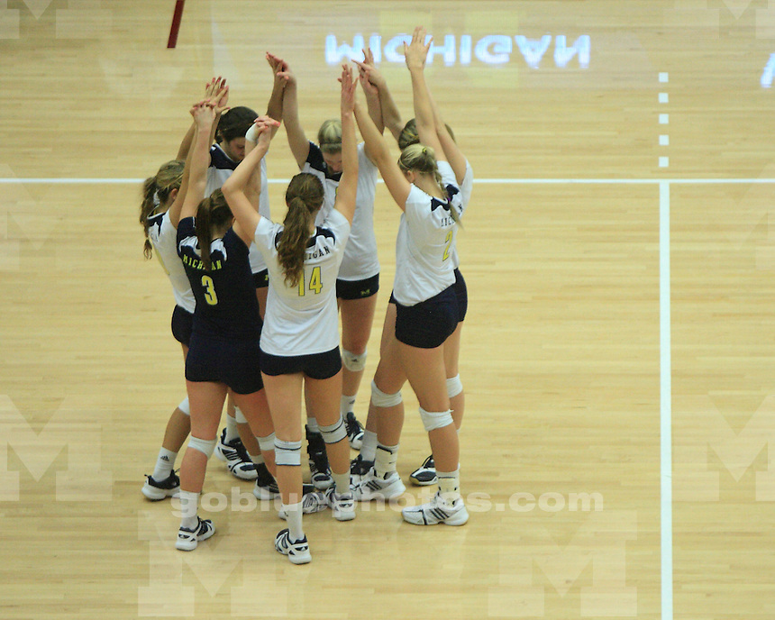 The University of Michigan women's volleyball team beat Baylor, 3-1 (22-25, 25-11, 29-27, 25-17), in the first round of the 2011 NCAA Tournament at Maples Pavilion in Palo Alto, Calif., on December 2, 2011.