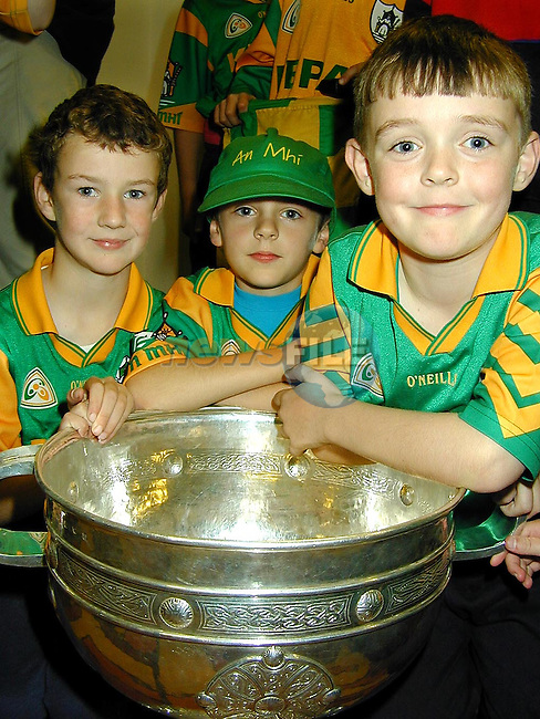 Seamus Byrne, Paul Hetherington and Martin McKenna with  the Sam Maguire in Whitecross National School, Julianstown on Friday..Picture Paul Mohan Newsfile