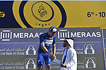 Race leader Elia Viviani (ITA) Quick-Step Floors wins overall  at the end of Stage 5 The Meraas Stage final stage of the Dubai Tour 2018 the Dubai Tour&rsquo;s 5th edition, running 132km from Skydive Dubai to City Walk, Dubai, United Arab Emirates. 10th February 2018.<br /> Picture: LaPresse/Fabio Ferrari | Cyclefile<br /> <br /> <br /> All photos usage must carry mandatory copyright credit (&copy; Cyclefile | LaPresse/Fabio Ferrari)