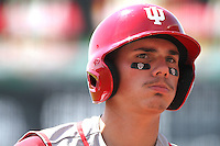 Craig Dedelow looks on before an at-bat. Indiana's 6-2 win eliminated Nebraska from the Big Ten Tournament at TD Ameritrade Park in Omaha, Neb. on May 26, 2016. (Photo by Michelle Bishop)