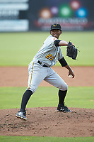 West Virginia Power starting pitcher Domingo Robles (25) in action against the Kannapolis Intimidators at Kannapolis Intimidators Stadium on July 25, 2018 in Kannapolis, North Carolina. The Intimidators defeated the Power 6-2 in 8 innings in game one of a double-header. (Brian Westerholt/Four Seam Images)