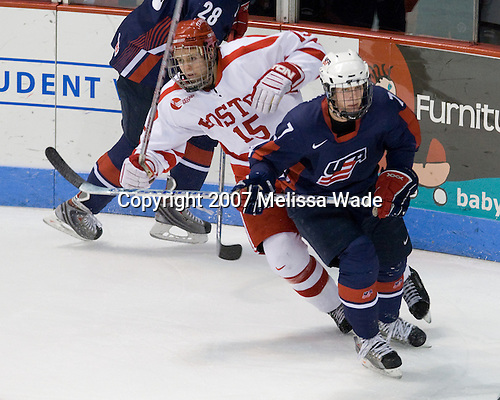 John McCarthy (BU 15), Robbie Czarnik (US Under-18 7) - The Boston University Terriers defeated the US National Team Development Program Under-18s 3-2 on Saturday, December 8, 2007, at Agganis Arena in Boston, Massachusetts.