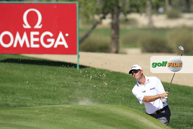 David HOWELL (ENG) in a bunker at the 10th green during Thursday's Round 1 of the 2015 Omega Dubai Desert Classic held at the Emirates Golf Club, Dubai, UAE.: Picture Eoin Clarke, www.golffile.ie: 1/29/2015
