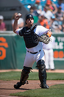 San Jose Giants catcher Tanner Murphy (48) during a California League game against the Lancaster JetHawks at San Jose Municipal Stadium on May 13, 2018 in San Jose, California. San Jose defeated Lancaster 3-0. (Zachary Lucy/Four Seam Images)