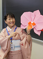 Mariko Miyamoto teaches a class her Corsage of Orchids origami design