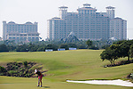 HAIKOU, CHINA - OCTOBER 30:  Spanish golfer Belen Mozo putts on the 10th green during day four of the Mission Hills Start Trophy tournament at Mission Hills Resort on October 30, 2010 in Haikou, China. The Mission Hills Star Trophy is Asia's leading leisure liflestyle event and features Hollywood celebrities and international golf stars.  Photo by Victor Fraile / The Power of Sport Images