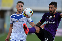 Leonardo Morosini of Brescia Calcio and Federico Ceccherini of Fiorentina compete for the ball during the Serie A football match between ACF Fiorentina and Brescia Calcio at Artemio Franchi stadium in Florence ( Italy ), June 22th, 2020. Play resumes behind closed doors following the outbreak of the coronavirus disease. <br /> Photo Antonietta Baldassarre / Insidefoto